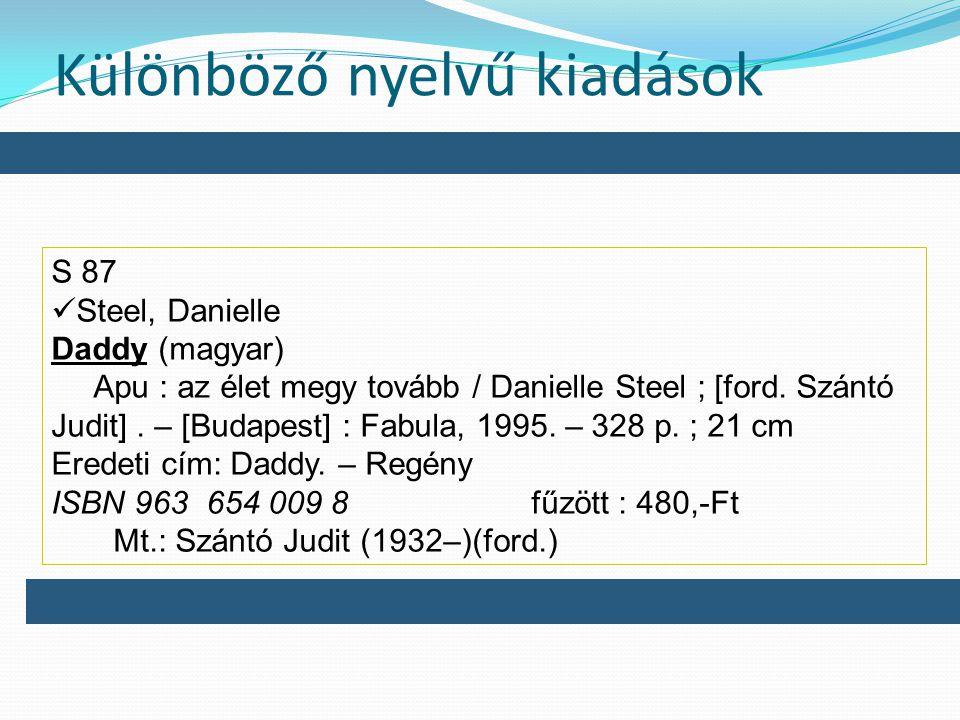 Különböző nyelvű kiadások