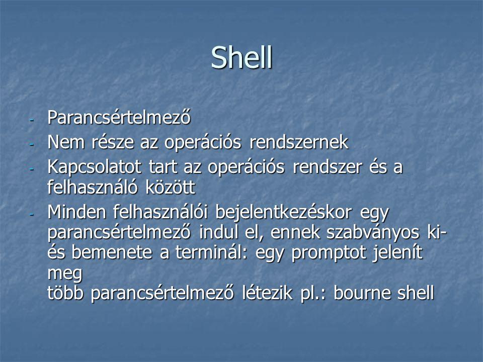 Shell Parancsértelmező Nem része az operációs rendszernek