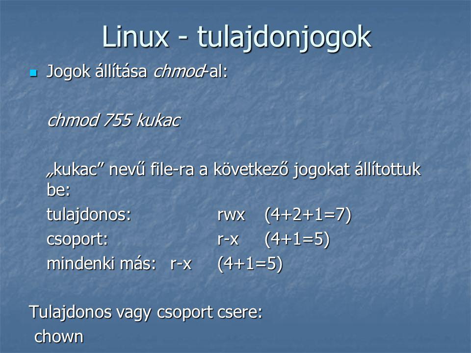 Linux - tulajdonjogok Jogok állítása chmod-al: chmod 755 kukac