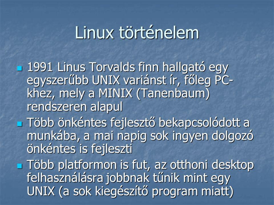 Linux történelem 1991 Linus Torvalds finn hallgató egy egyszerűbb UNIX variánst ír, főleg PC-khez, mely a MINIX (Tanenbaum) rendszeren alapul.
