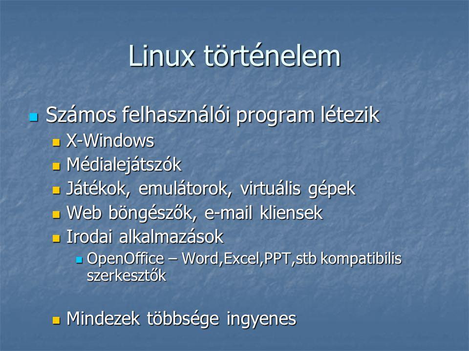 Linux történelem Számos felhasználói program létezik X-Windows