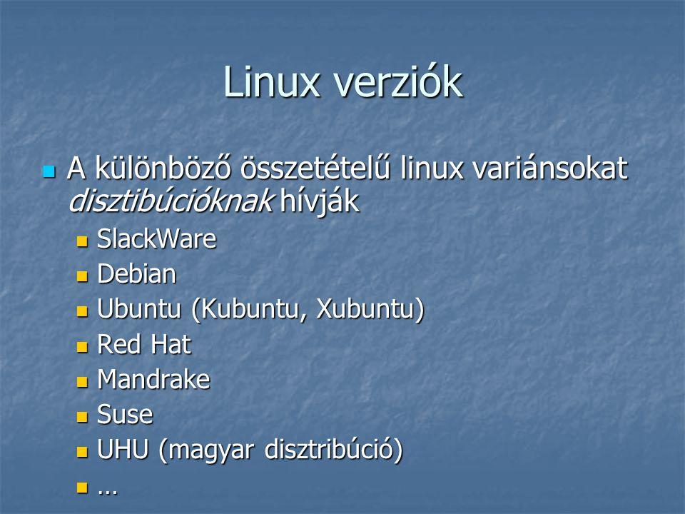 Linux verziók A különböző összetételű linux variánsokat disztibúcióknak hívják. SlackWare. Debian.