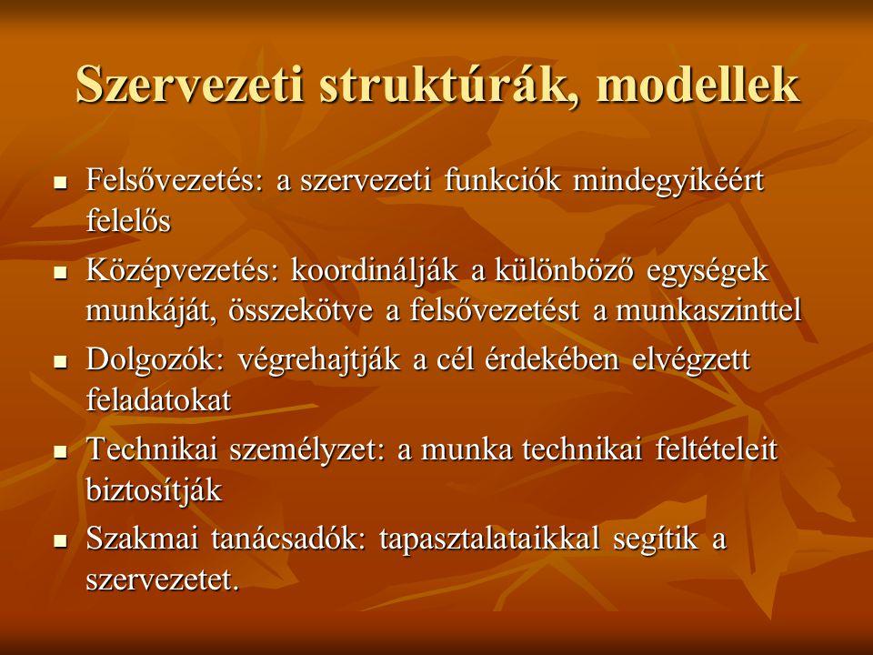 Szervezeti struktúrák, modellek