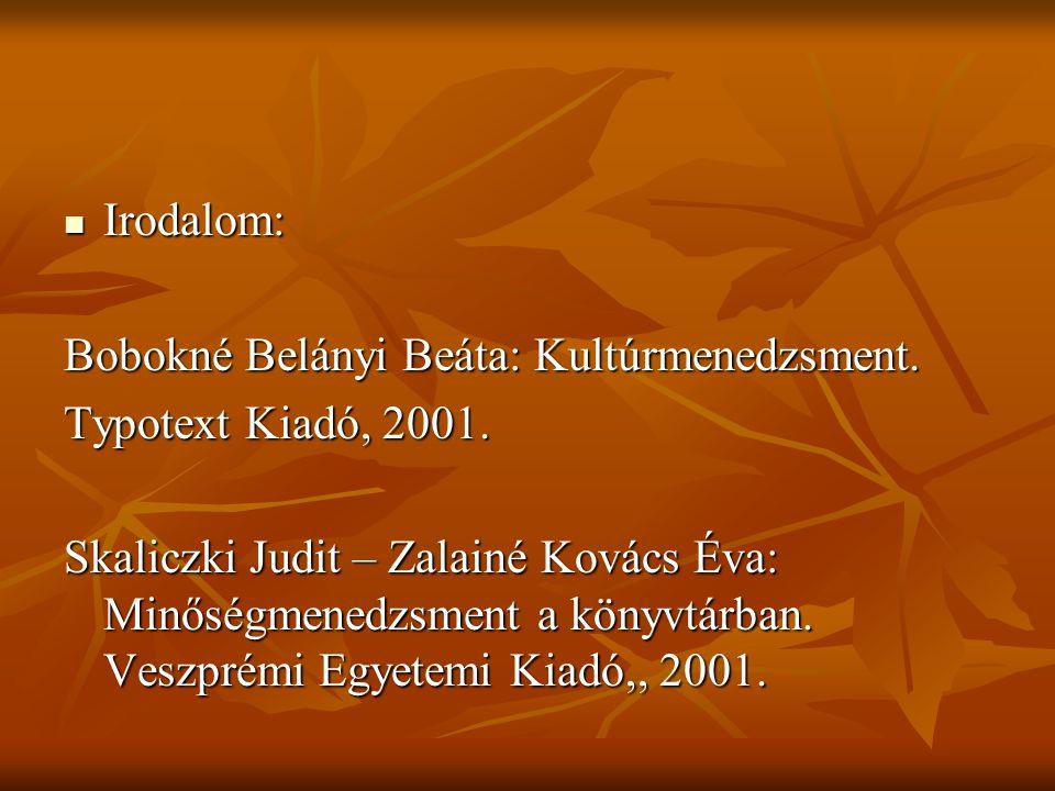 Irodalom: Bobokné Belányi Beáta: Kultúrmenedzsment. Typotext Kiadó, 2001.