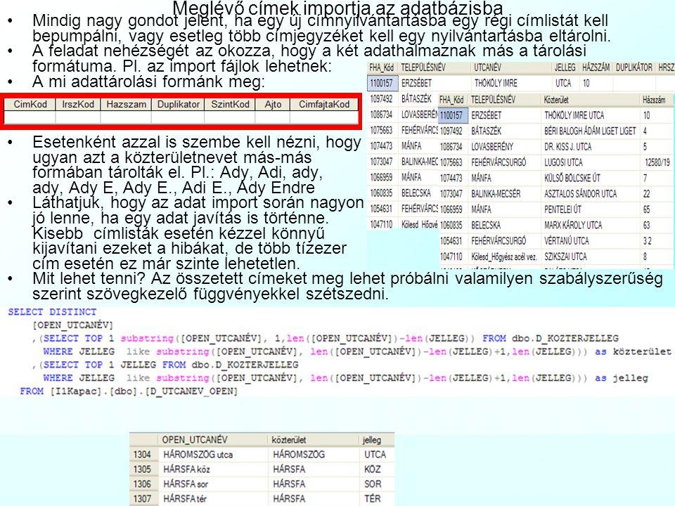 Meglévő címek importja az adatbázisba
