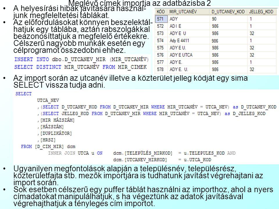 Meglévő címek importja az adatbázisba 2