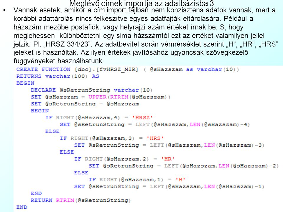 Meglévő címek importja az adatbázisba 3