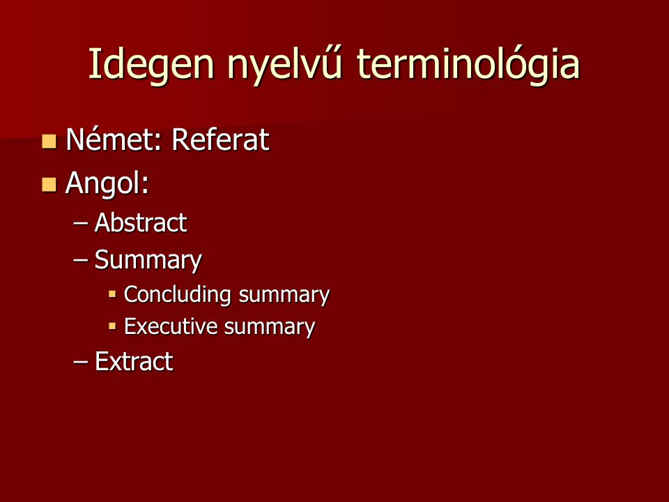 Idegen nyelvű terminológia