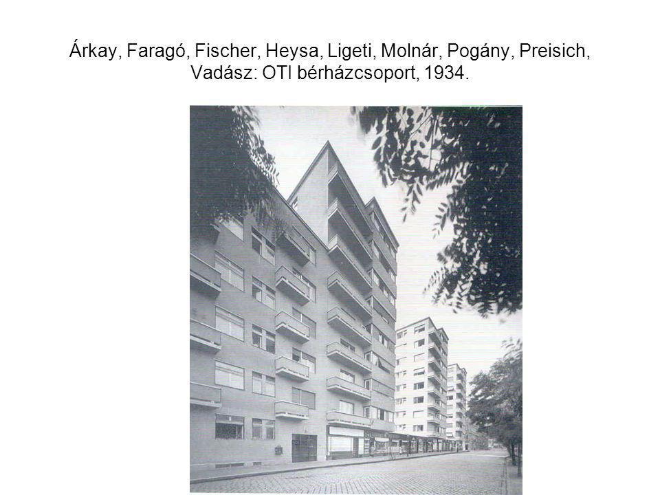 Árkay, Faragó, Fischer, Heysa, Ligeti, Molnár, Pogány, Preisich, Vadász: OTI bérházcsoport, 1934.