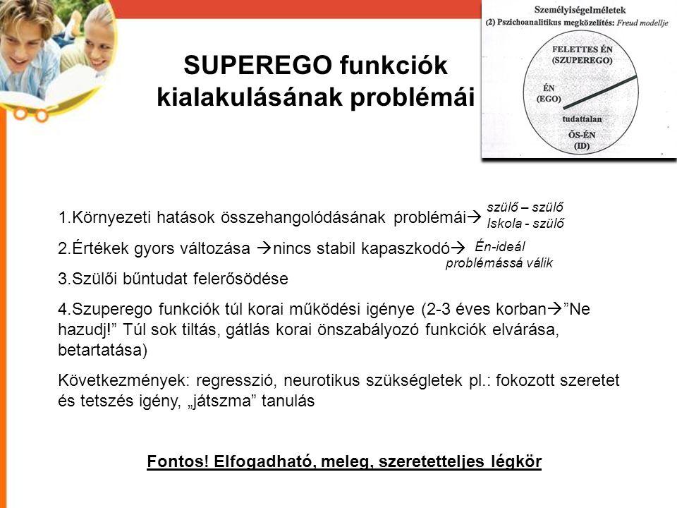 SUPEREGO funkciók kialakulásának problémái