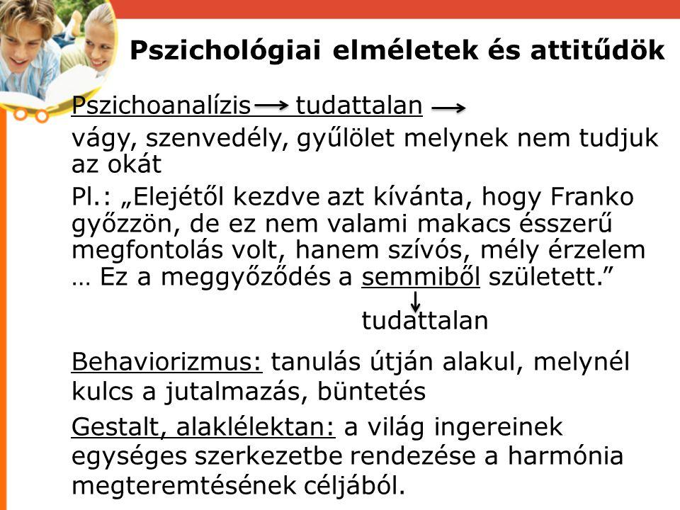 Pszichológiai elméletek és attitűdök