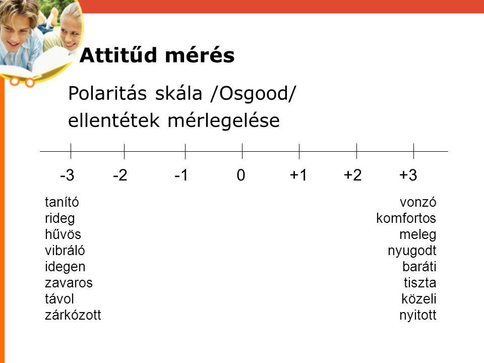Attitűd mérés Polaritás skála /Osgood/ ellentétek mérlegelése