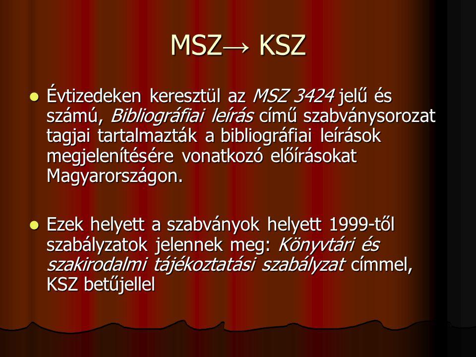 MSZ→ KSZ