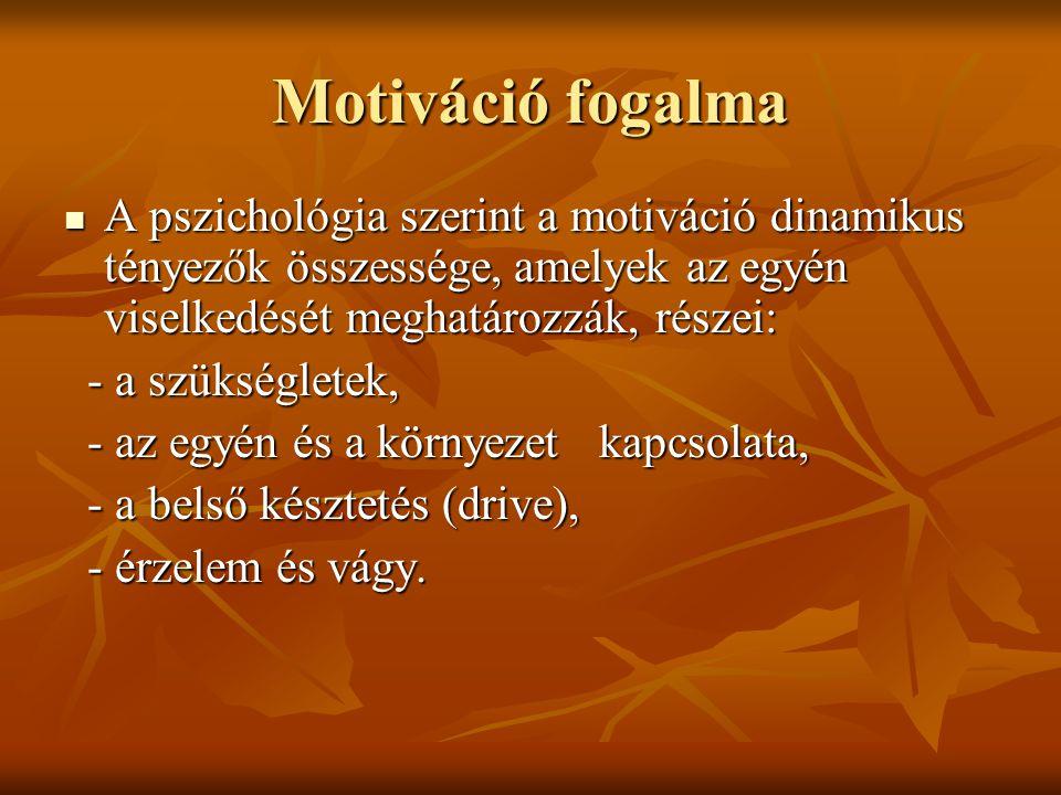 Motiváció fogalma A pszichológia szerint a motiváció dinamikus tényezők összessége, amelyek az egyén viselkedését meghatározzák, részei:
