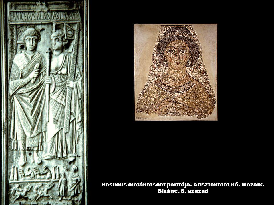 Basileus elefántcsont portréja. Arisztokrata nő. Mozaik. Bizánc. 6