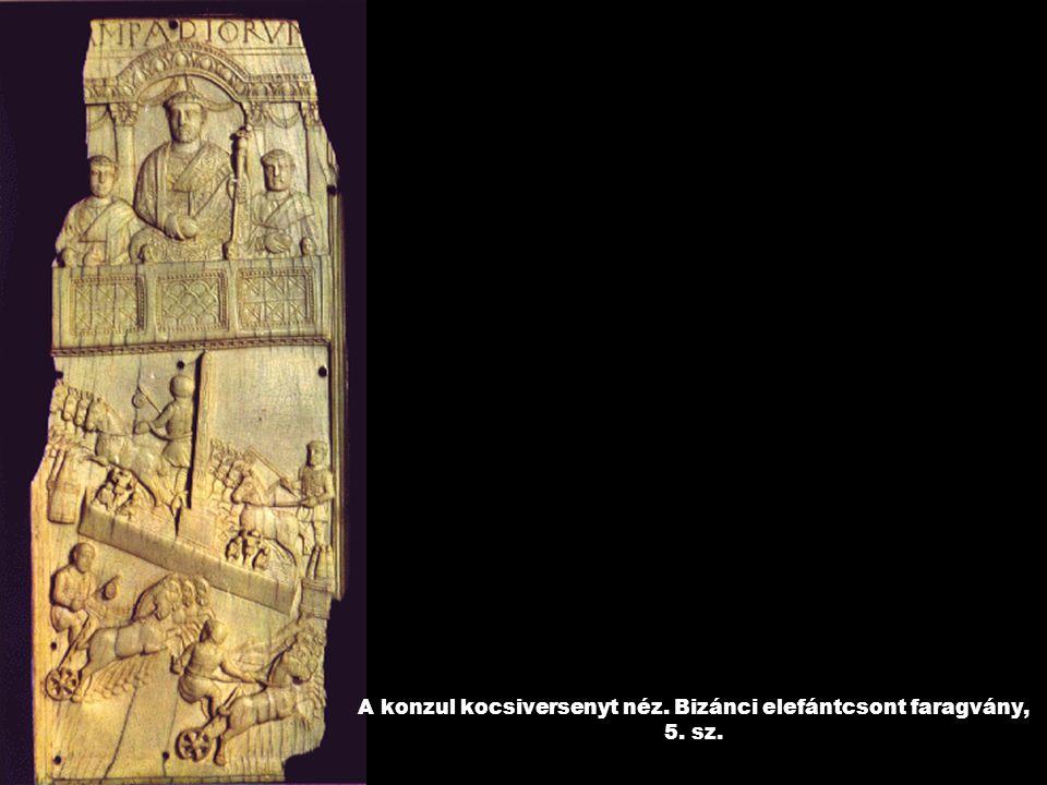 A konzul kocsiversenyt néz. Bizánci elefántcsont faragvány, 5. sz.