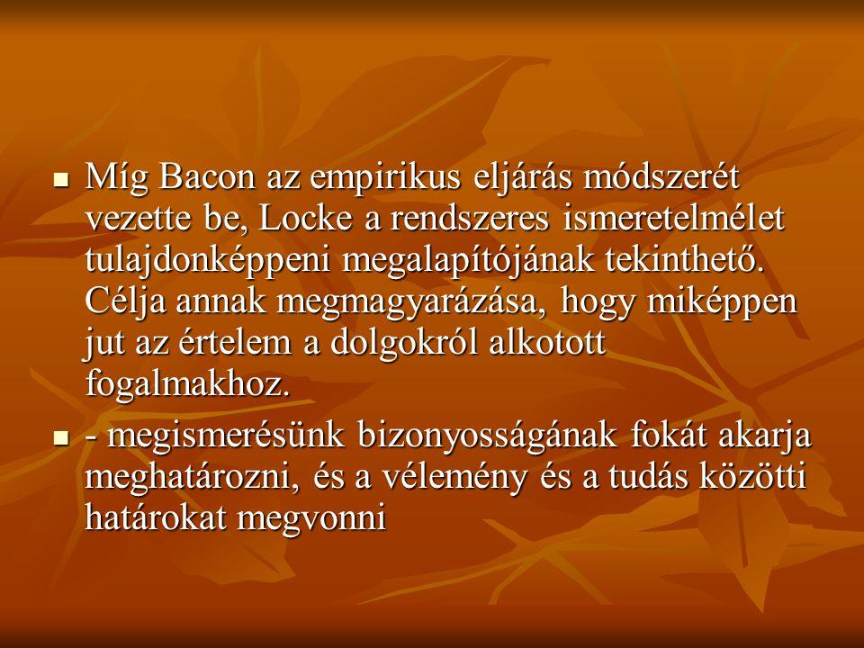 Míg Bacon az empirikus eljárás módszerét vezette be, Locke a rendszeres ismeretelmélet tulajdonképpeni megalapítójának tekinthető. Célja annak megmagyarázása, hogy miképpen jut az értelem a dolgokról alkotott fogalmakhoz.