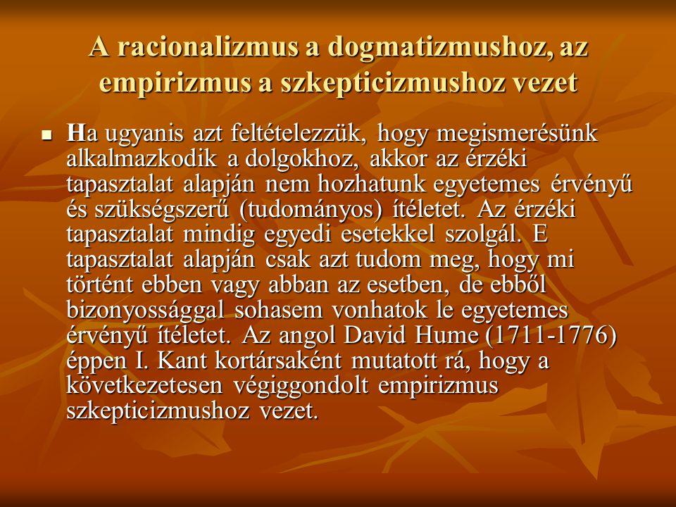 A racionalizmus a dogmatizmushoz, az empirizmus a szkepticizmushoz vezet