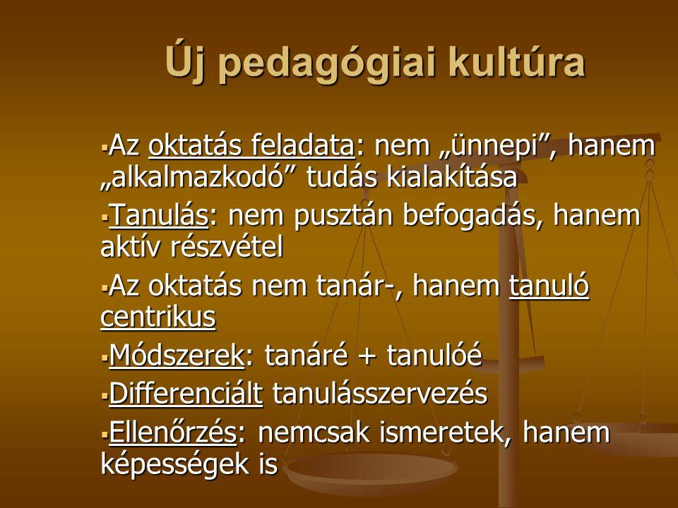 """Új pedagógiai kultúra Az oktatás feladata: nem """"ünnepi , hanem """"alkalmazkodó tudás kialakítása."""