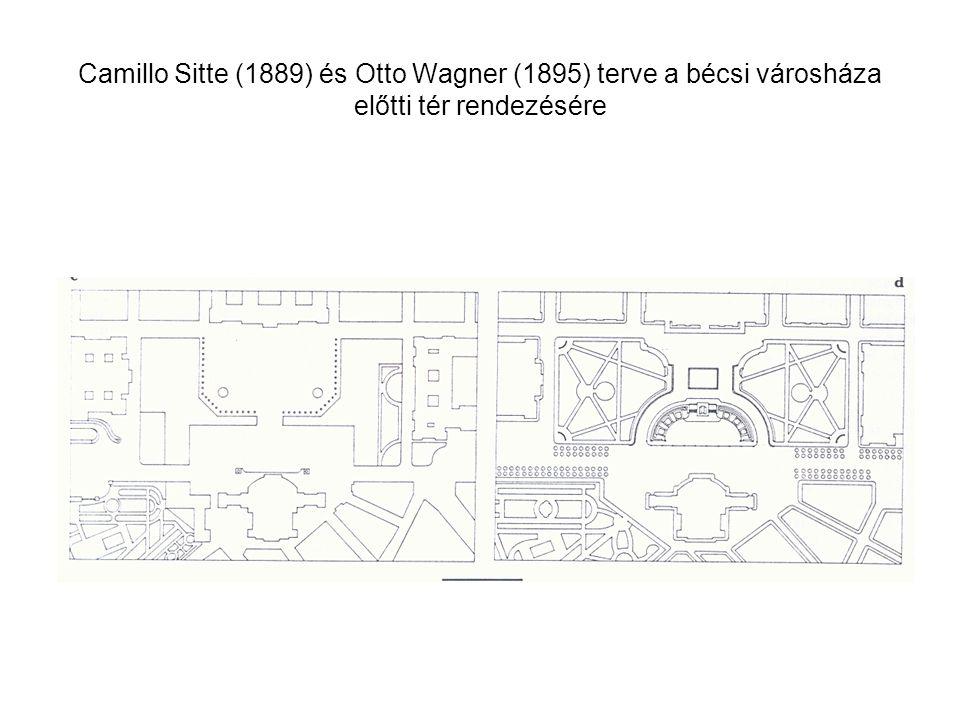 Camillo Sitte (1889) és Otto Wagner (1895) terve a bécsi városháza előtti tér rendezésére