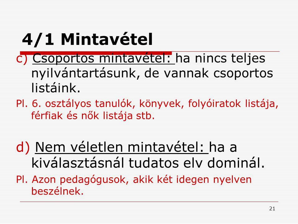 4/1 Mintavétel c) Csoportos mintavétel: ha nincs teljes nyilvántartásunk, de vannak csoportos listáink.