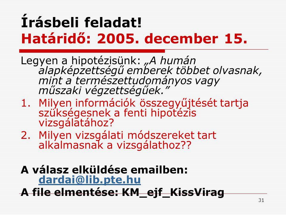 Írásbeli feladat! Határidő: 2005. december 15.