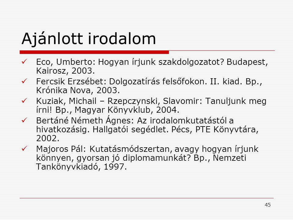 Ajánlott irodalom Eco, Umberto: Hogyan írjunk szakdolgozatot Budapest, Kairosz, 2003.
