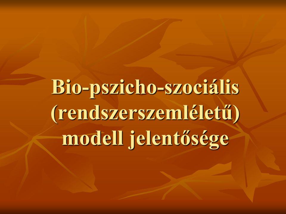 Bio-pszicho-szociális (rendszerszemléletű) modell jelentősége