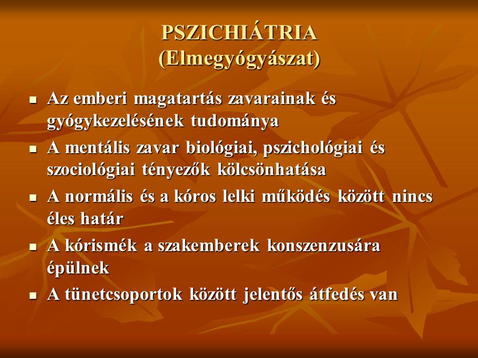 PSZICHIÁTRIA (Elmegyógyászat)