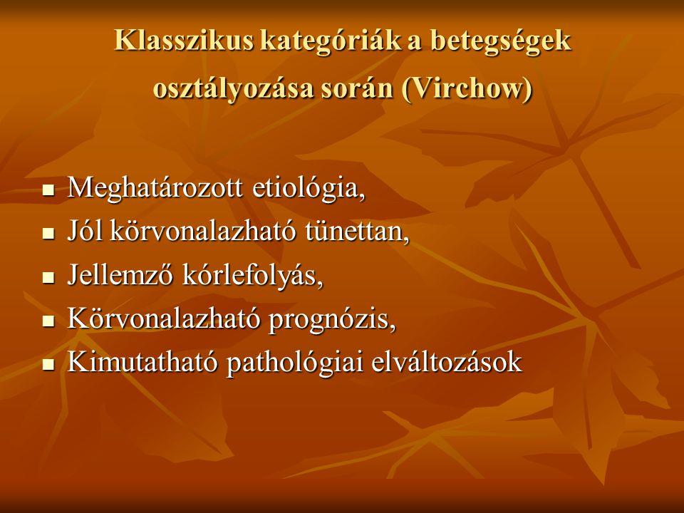 Klasszikus kategóriák a betegségek osztályozása során (Virchow)