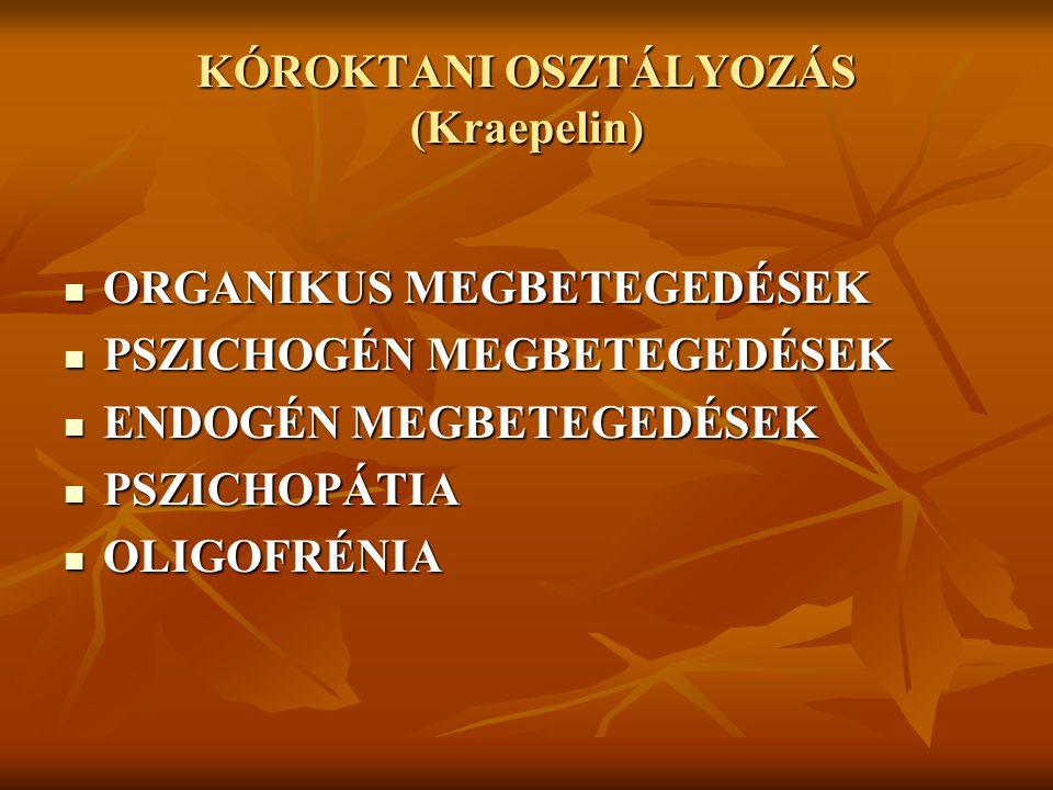 KÓROKTANI OSZTÁLYOZÁS (Kraepelin)