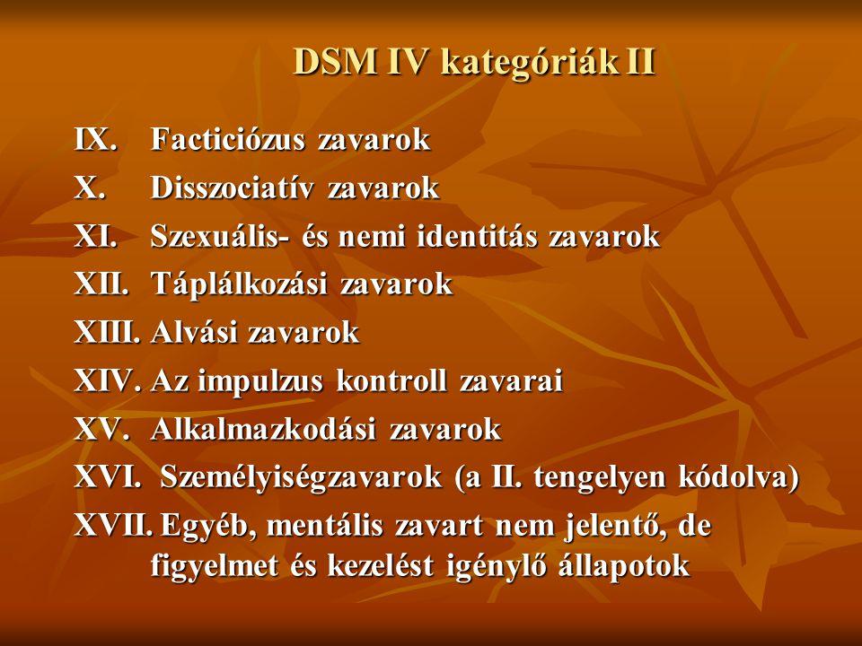 DSM IV kategóriák II IX. Facticiózus zavarok X. Disszociatív zavarok