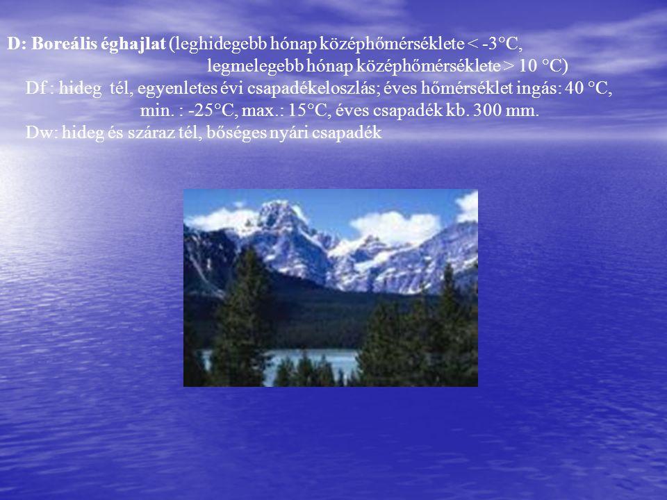 D: Boreális éghajlat (leghidegebb hónap középhőmérséklete < -3°C,