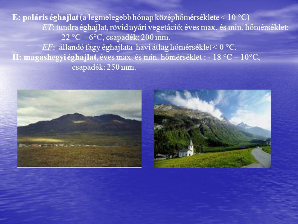 E: poláris éghajlat (a legmelegebb hónap középhőmérséklete < 10 °C)