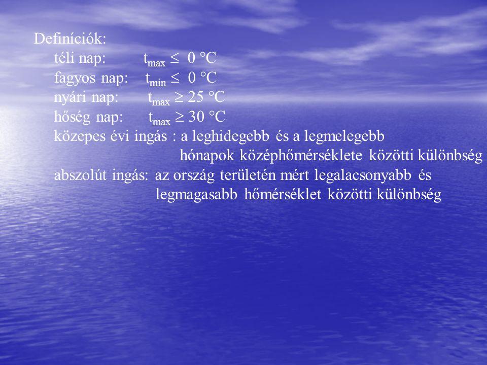 Definíciók: téli nap: tmax  0 °C. fagyos nap: tmin  0 °C. nyári nap: tmax  25 °C.