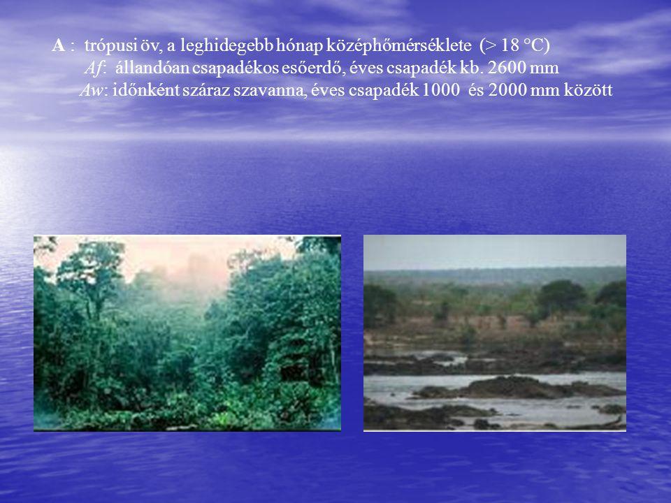 A : trópusi öv, a leghidegebb hónap középhőmérséklete (> 18 °C)