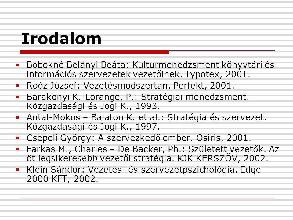 Irodalom Bobokné Belányi Beáta: Kulturmenedzsment könyvtári és információs szervezetek vezetőinek. Typotex, 2001.