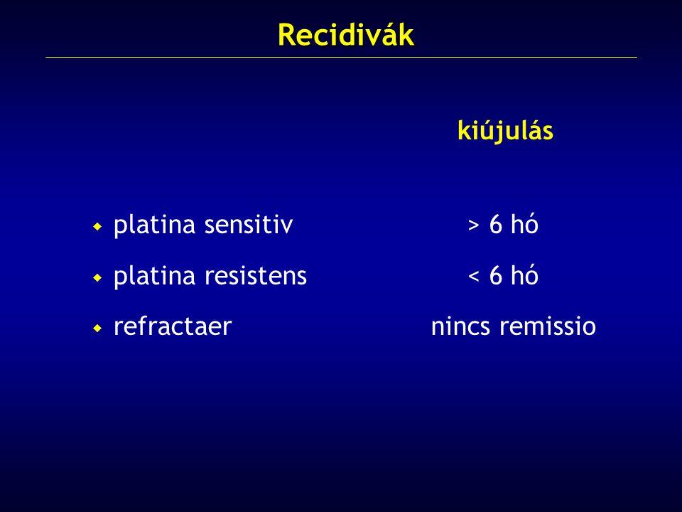 Recidivák kiújulás platina sensitiv > 6 hó