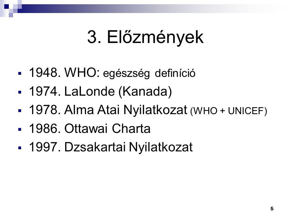 3. Előzmények 1948. WHO: egészség definíció 1974. LaLonde (Kanada)