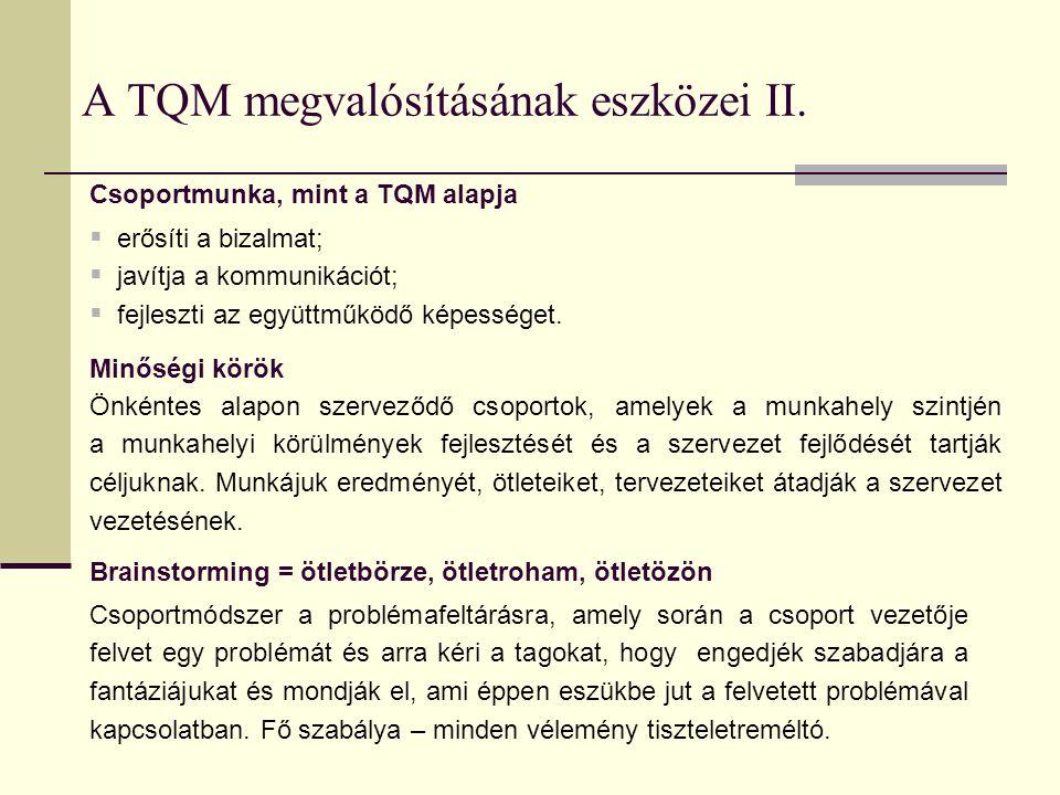 A TQM megvalósításának eszközei II.