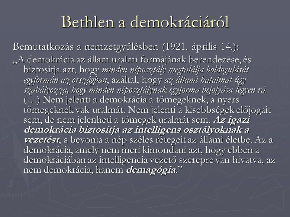 Bethlen a demokráciáról