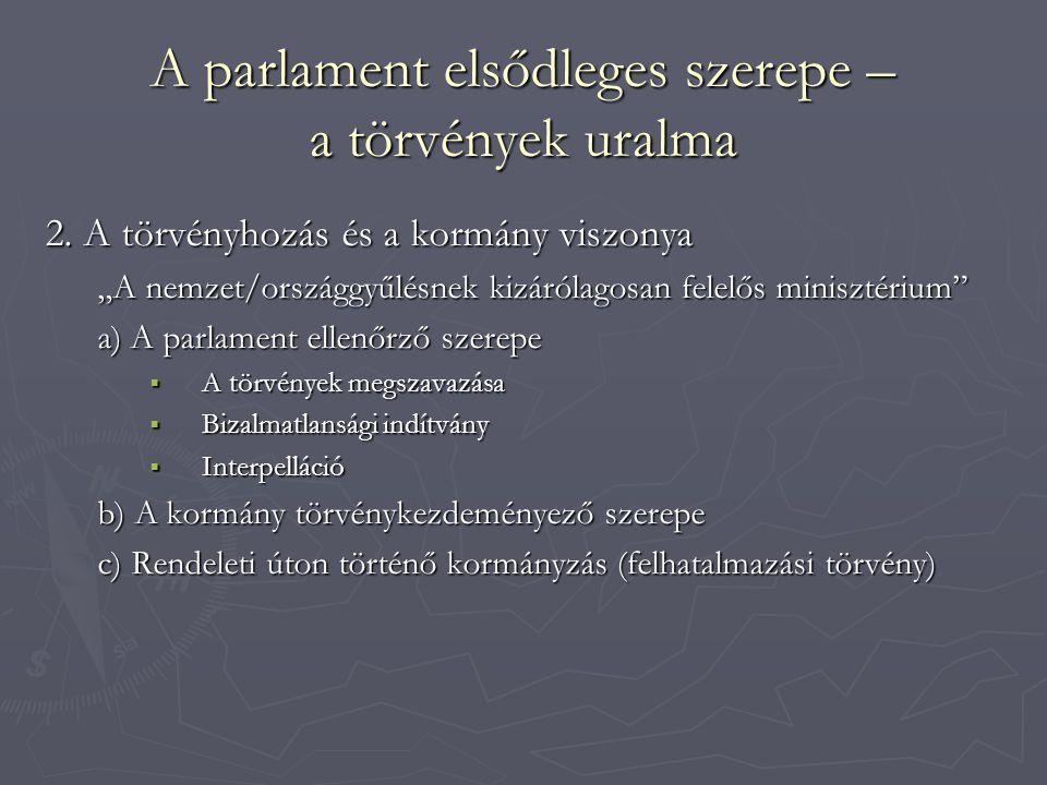 A parlament elsődleges szerepe – a törvények uralma