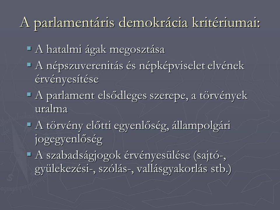 A parlamentáris demokrácia kritériumai: