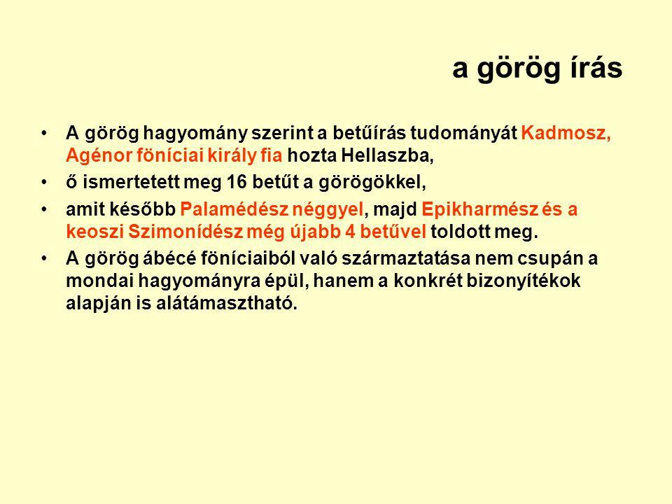 a görög írás A görög hagyomány szerint a betűírás tudományát Kadmosz, Agénor föníciai király fia hozta Hellaszba,