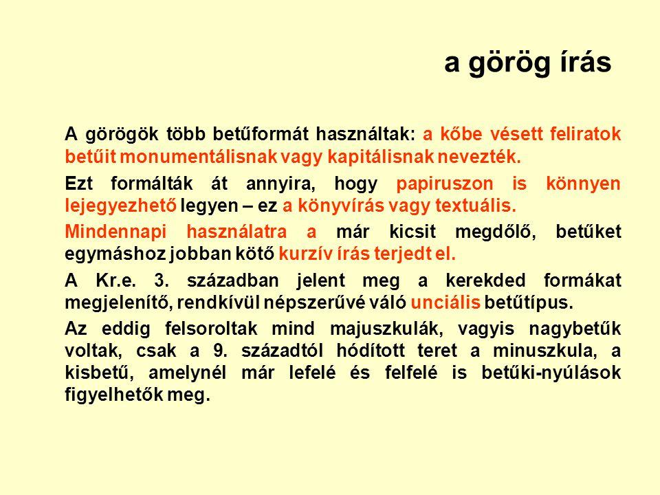 a görög írás A görögök több betűformát használtak: a kőbe vésett feliratok betűit monumentálisnak vagy kapitálisnak nevezték.