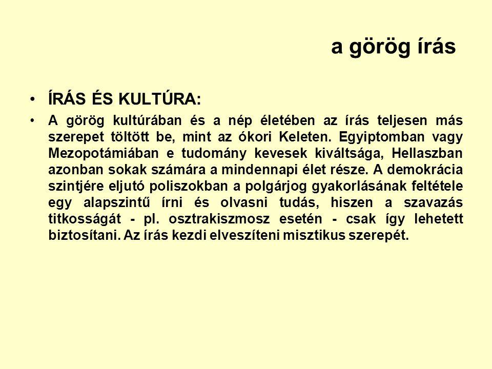 a görög írás ÍRÁS ÉS KULTÚRA: