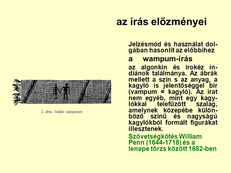 az írás előzményei Jelzésmód és használat dol-gában hasonlít az előbbihez. a wampum-írás.