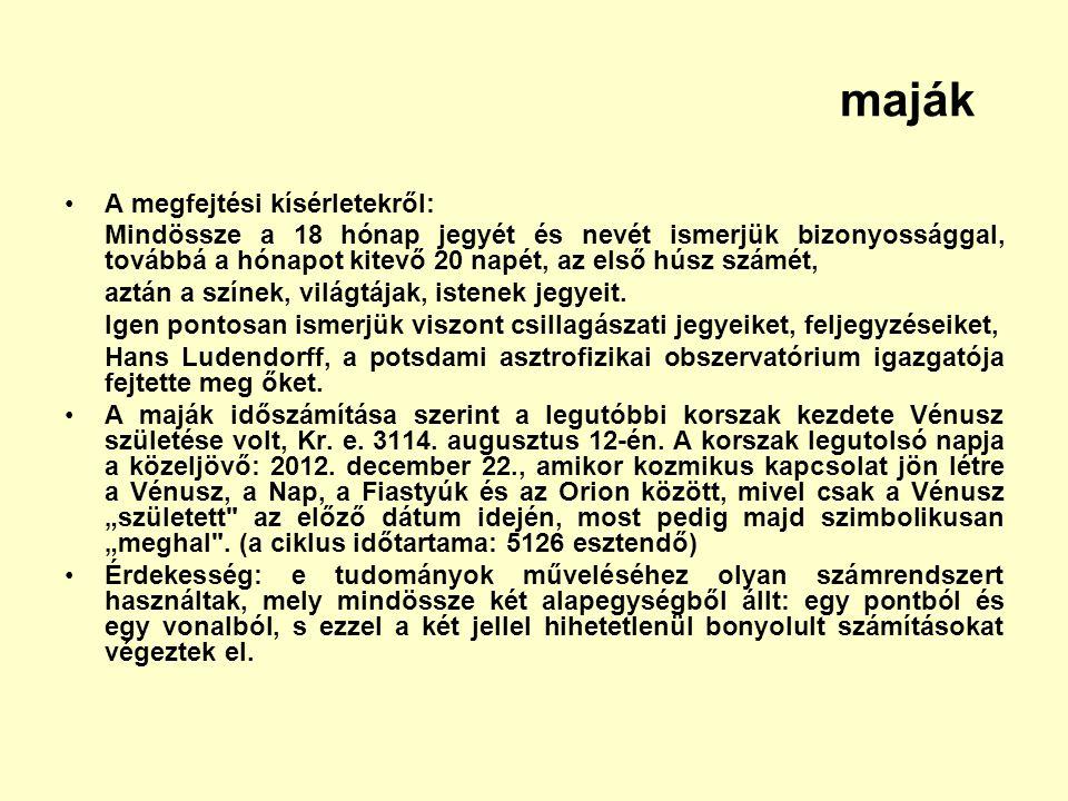 maják A megfejtési kísérletekről: