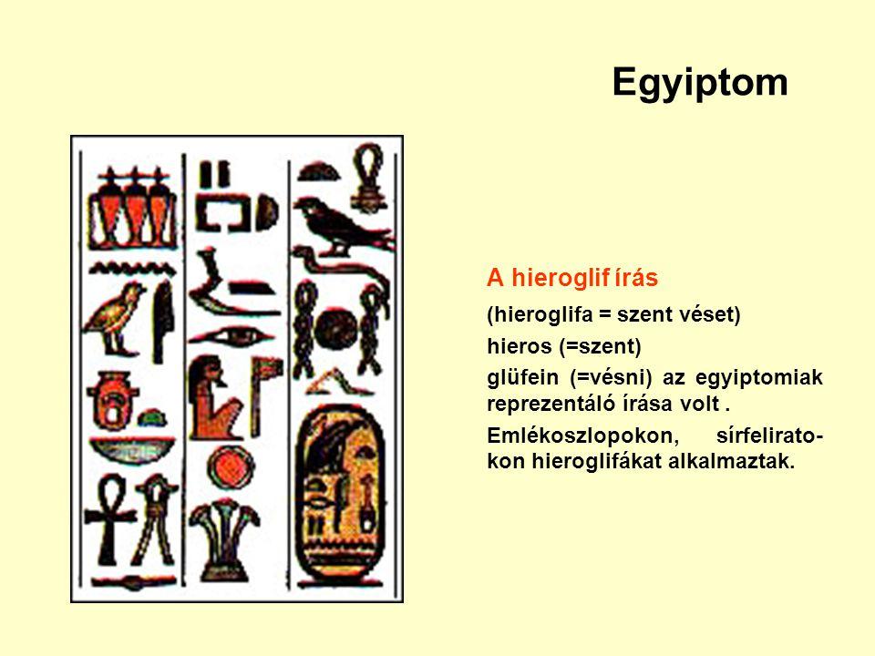 Egyiptom A hieroglif írás (hieroglifa = szent véset) hieros (=szent)