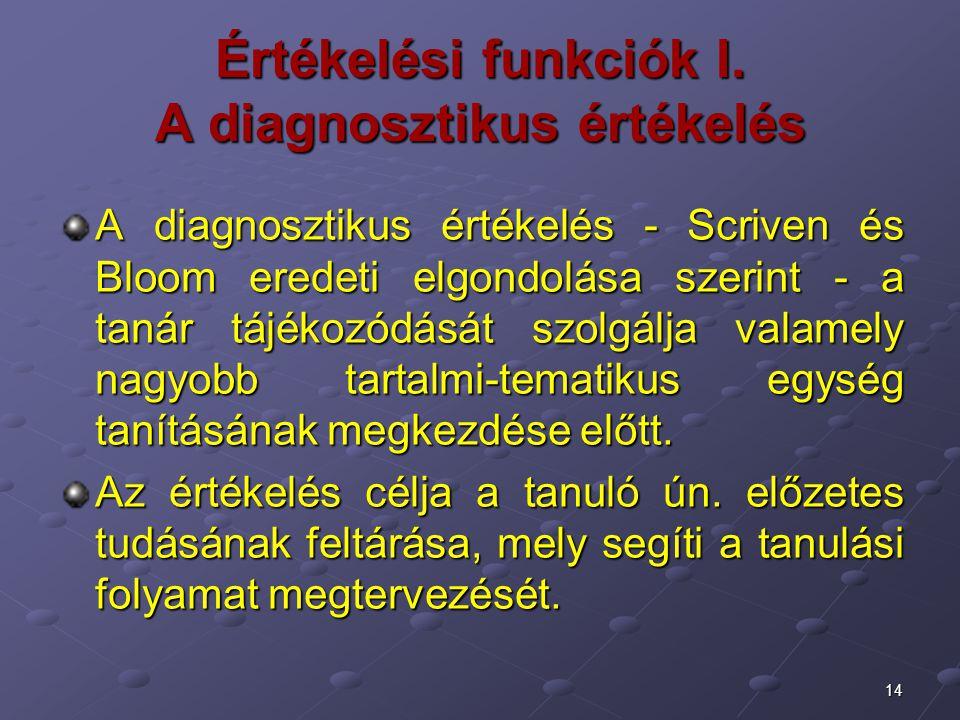 Értékelési funkciók I. A diagnosztikus értékelés